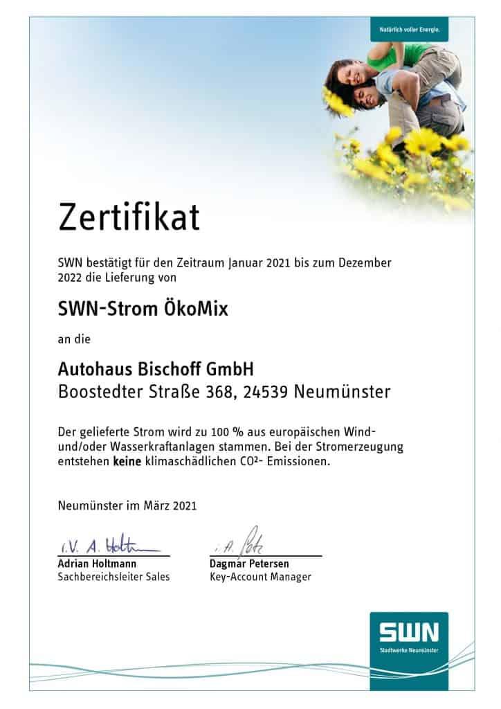 Ökostrom Zertifikat Autohaus Bischoff Stadtwerke Neumünster SWN